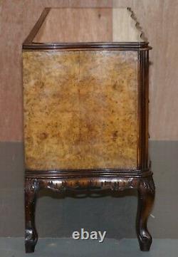 Sublime Vintage Italian Burr Walnut Serpentine Fronted Sideboard Mirrored Top