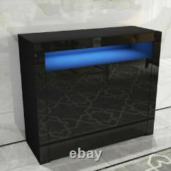 UK 2 Doors Cabinet Sideboard Cupboard High Gloss Fronts Storage RGB LED