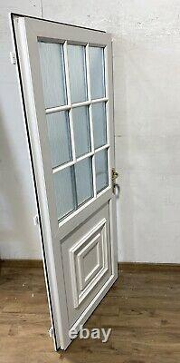 Upvc Pvcu White Front Entrance Door-georgian Bars-back-porch-distorted-exterior