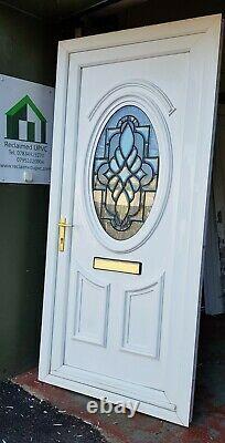 Upvc double glazed front door white mancave summerhouse porch 950x2052 (6493)