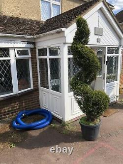 Upvc front porch, white, lead light glass, excellent condition, with key