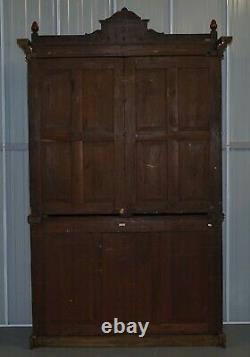 Victorian Library Burr Pollard Oak Library Bookcase Drop Front Secretaire Desk