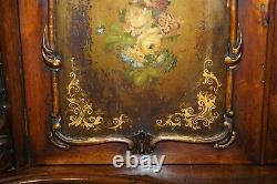 Victorian Marble Topped Serpentine Fronted Verni Martin Painted Carved Sideboard