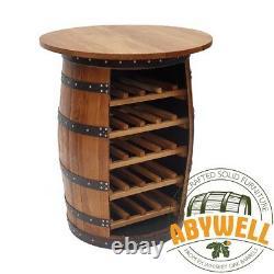 WHISKEY BARREL DRINKS CABINET Open Front Handcrafted Solid Barrel Furniture
