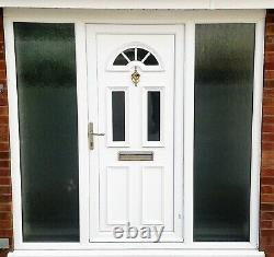 White UPVC Front door with Side Lights (glass) Used