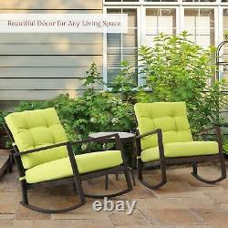 Wide Seat Wicker Rocking Chair Patio Furniture Sturdy Outdoor Front Porch Rocker
