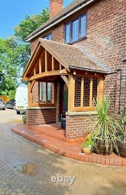 Wide Solid Oak Porch With Full Curved Front Beam -Bespoke designs & sizes made